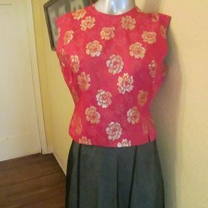 Vintage 50s Women Silk Hot Pink Gold Blouse Siz 12